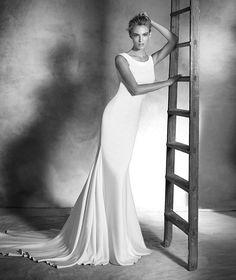 Idalia, vestido de novia estilo sirena, escote redondo, estilo elegante