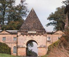 Castle Howard, North Yorkshire, England ( Sir John Vanbrugh and Nicholas Hawkmoor: 1699 - 1712)    Pyramid Gate by Vanbrugh 1717.
