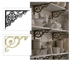 Make French bistro style shelving with cast iron brackets and wood ...