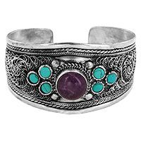 Turquoise & Amethyst Wide Cuff Bracelet at The Hunger Site