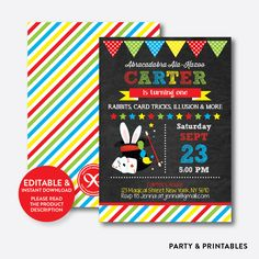 Magic Show Red Ch... http://partyandprintables.com/products/magic-show-red-chalkboard-kids-birthday-invitation-editable-instant-download-ckb-159?utm_campaign=social_autopilot&utm_source=pin&utm_medium=pin #partyprintables #birthdayinvitation #partysupplies #partydecor #kidsbirthday #babyshower