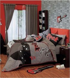 New Boys Gray Red Orange White Rock Guitars Comforter Bedding Set in Home & Garden, Bedding, Comforters & Sets   eBay