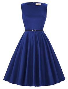 Cute Boatneck Sleeveless Vintage Tea Dress With Belt royal blue