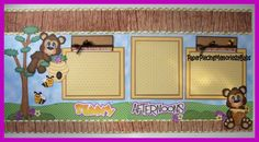 """""""Sunny Afternoons"""" Honey Bear scrapbook pages created by PAPER PIECING MEMORIES BY BABS, pattern by Cuddly Cute Designs."""