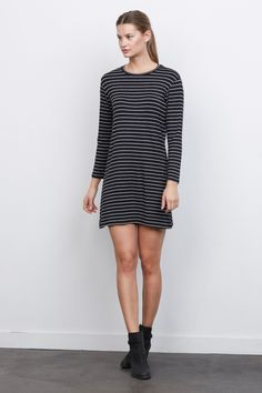 Mala striped dress with black ankle boots