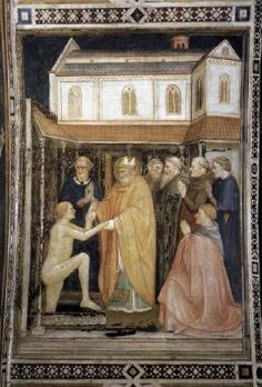 CAPANNA, Puccio St Stanislas Raises a Body from the Death  c. 1338 Fresco Lower Church, San Francesco, Assisi  This fresco is part of the decoration of the singing gallery in the Lower Church.  The miraculous event is set in the graveyard of a monastery, while the large church in the background represents the basilica of St Francis in Assisi.