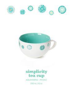 A lovely porcelain teacup in a calming aquamarine mosaic design