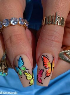 Dancing On The Fingertips In The Summer Nails Art Designs - Keep creating beauty and warm home, Find more happiness in daily life Butterfly Nail Designs, Butterfly Nail Art, Cute Acrylic Nail Designs, Nail Art Designs, Summer Acrylic Nails, Best Acrylic Nails, Gorgeous Nails, Pretty Nails, Pink Nail Art