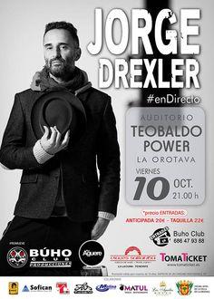 Concierto de Jorge Drexler organizado por Búho Producciones (El Búho La Laguna) y que se celebrará en el Auditorio Teobaldo Power en pleno corazón histórico de La Orotava.