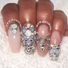 """Jewelry Box"" inspired ballerina square acrylic nails. Nude, white, swarovski crystals, opal, baby/air blue, French, necklace, earrings, ring, chains, craft, brown/black skin. Lots of bling. Young Nails & Organic Nails products. Arab or Indian wedding/brides"