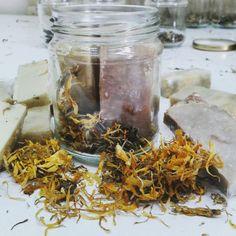 Herbs calendula soap in jar