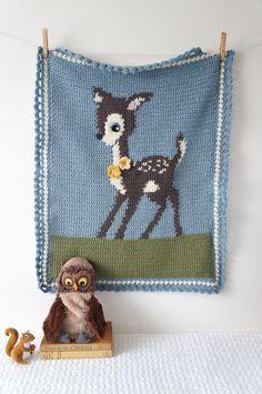 Intarsia deer crochet pattern bambi baby blanket by LittleDoolally