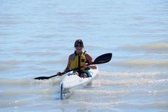 Becky bringing in the Epic V10 Surf Ski - Lake Erie, Port Stanley, Ontario.