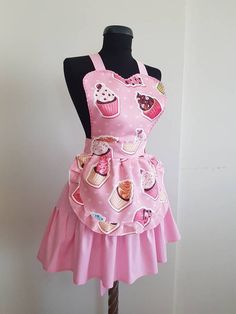 Cupcake aprons for women , Sweetheart womens cooking apron , Cute kitchen apron , Pinup apron , Love Vintage Apron Pattern, Aprons Vintage, Pink Apron, Retro Apron, Pin Up, Cupcakes, Black And White Tuxedo, Custom Aprons, Apron Designs