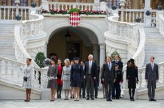(L-R) Princess Stephanie, Princess Caroline, Melanie de Massy, an unidentified guest, Princess Charlene, Prince of Liechtenstein Hans Adam II, Prince Albert II and Andrea Casiraghi attend the Monaco National Day
