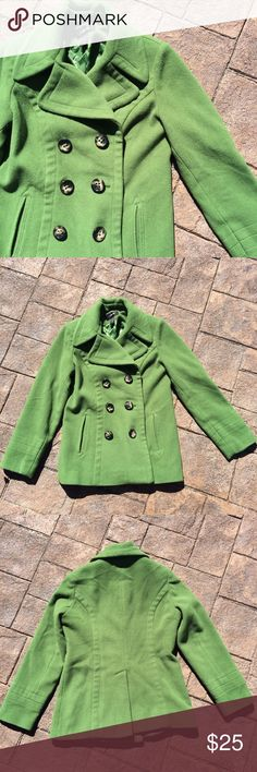 Green Peacoat Super thick and warm. Beautiful grass green color. Has a few worn spots, but they are tiny. See pic. Style & Co Jackets & Coats Pea Coats