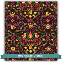Tecido Estampado para Patchwork - Digital Folk Preto (0,50x1,40) 100% Algodão Fabricante:  Atelie Serenissima