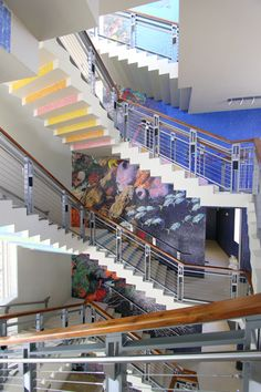 Decorative stairway and railings in commercial office space
