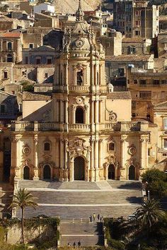Duomo di San Giorgio, Modica, Sicily, Italy, Province of Ragusa Places Around The World, The Places Youll Go, Places To Visit, Around The Worlds, Beautiful Buildings, Beautiful Places, Architecture Baroque, Sicily Italy, Verona Italy