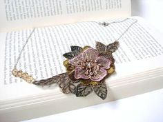 Lace Necklace Women accessory  3D Flower Brown and by bytugce, $24.00