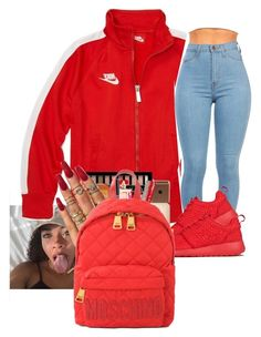 """""""Red❣‼️"""" by crowned-ivy ❤ liked on Polyvore featuring NIKE and Moschino"""