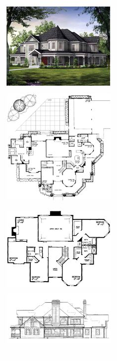 Farmhouse Style COOL House Plan ID: chp-19860   Total Living Area: 4826 sq. ft., 5 bedrooms and 4.5 bathrooms. #farmhouse