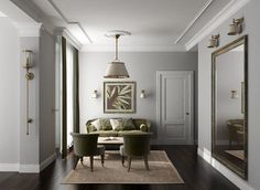 Side By Design Light Gray Walls Look Lovely Against White Crown Moldings And Baseboards