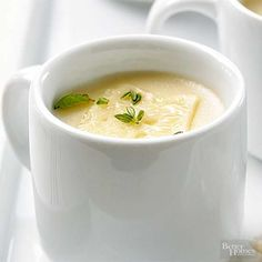 Gruyere adds richness and earthiness to this creamy potato soup. Fresh herbs and a slice of Swiss cheese make a tasty garnish./