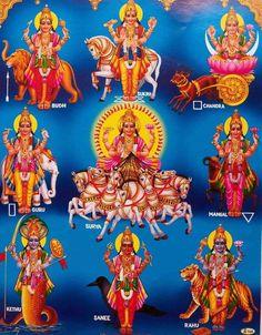 India Hindu Religious Print Budh Sukrh Chandra Guru Surya Mangal Kethu (U15)