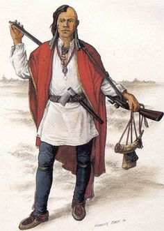 """Micmac (First Nations) warrior, around 1740 - """"This Micmac warrior of circa 1740 carries a French-made musket and wears a European shirt. Reconstruction by Francis Back."""""""