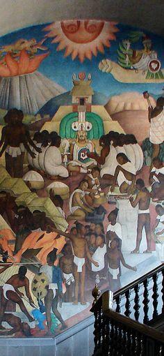 The Legend of Quetzalcoatl. National Palace or Palacio Nacional. Mexico City, by Diego Rivera