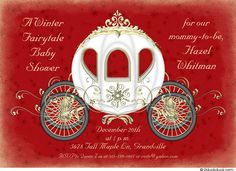 christmasn Girl Baby Shower Themes | Fairy Godmother's Baby Shower Invitation - Winter White & Red