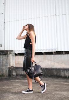 Leather + converse                                                                                                                                                                                 Plus