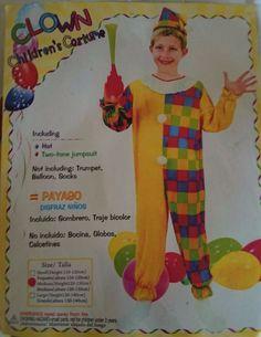 Child s Circus Clown Fancy Dress Costume Kids Medium Two Tone Checked Jumpsuit Clown Fancy Dress Costume, Circus Fancy Dress, Fancy Dress For Kids, Circus Clown, Balloons, Jumpsuit, Medium, Children, Ebay