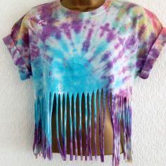 New Tie Dye 90s Fringe Crop Top T-Shirt S Hipster Grunge Ibiza Urban 8 10 12 Hipster Grunge, Ibiza, Tie Dye Crop Top, Crop Tops, Urban, How To Make, Closet, Women, Fashion