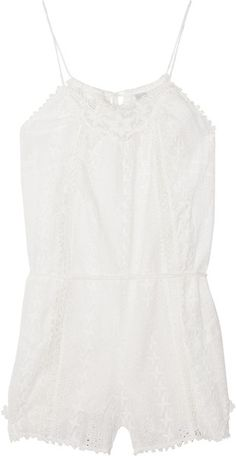 Devoted Broderie Anglaise Cotton Playsuit - Lyst