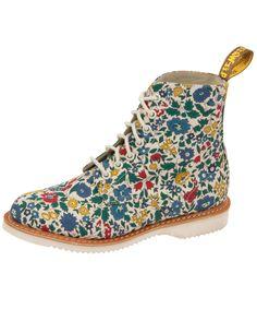 b4892c81477b7 Liberty London x Dr. Martens Evan 7 Eye Boot in Blue, Cherry Red   Green  Marten Flower City Poplin.