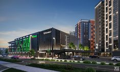 Паркинг, со встроенными офисными и торговыми помещениями. Проект - Студия М5, Минск. #parking #amazingarchitecture #projectparking #design_m5 Skyscraper, Multi Story Building, Park, Skyscrapers, Parks