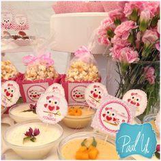 Paal Uh. Mesa de Postres & Snacks. Dulces. Rosa. Búho. Niña. Baby Shower. Pink.   Candybar. Mousse de frutas.