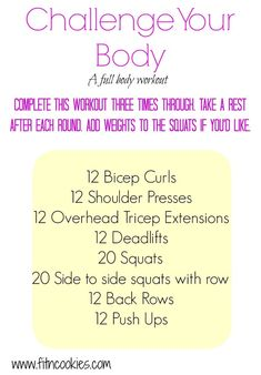 This Challenge Your Body Full Body Workout will leave your muscles feeling it! It's safe for pregnancy but you don't have to be pregnant to do it! Gym Workouts, At Home Workouts, Workout Routines, Metabolic Workouts, Quick Workouts, Workout Plans, Workout Ideas, Fit Girl Motivation, Fitness Motivation