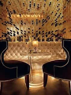 Luxurious black & gold!  GILT Champagne Lounge at Jumeirah Carlton Tower, London