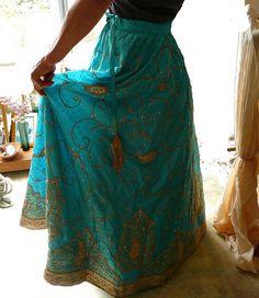 Embroidered jari indian skirt. Via syamarts on Etsy.