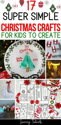 We've rounded up 17 super simple Christmas crafts for kids to create. So many fun homemade Christmas gifts and DIY projects for the holidays to keep children entertained. #christmas #Holidays