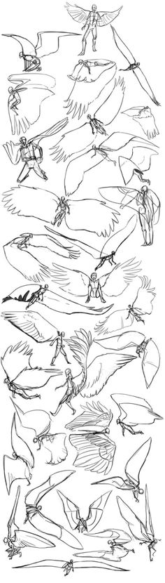 angel wings sketchdump - how a man would move whilst having wings on his back - drawing reference Drawing Techniques, Drawing Tutorials, Art Tutorials, Painting Tutorials, Art Sketches, Art Drawings, Contour Drawings, Anime Art Fantasy, Poses References