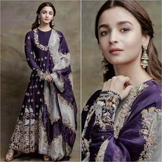 March-April, on Insta: alia bhatt giving us major bridesmaids goals in purple eggplant shade Indian wedding guest outfit by Anamika Khanna via Bollywood Outfits, Bollywood Fashion, Bollywood Actress, Indian Wedding Fashion, Indian Fashion, Fashion Fall, Summer Bridesmaid Dresses, Bridal Dresses, Bridesmaids