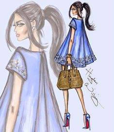 #Hayden Williams Fashion Illustrations #'Blue Pearl' by Hayden Williams