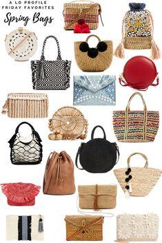 Loving the straw bag trend this season! Spring Bags, Summer Bags, Straw Handbags, Purses And Handbags, Mochila Crochet, Round Bag, Basket Bag, Cute Purses, Cute Bags