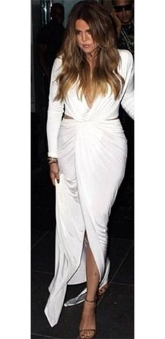 White Plunging Deep V Long Sleeve Gathered Ruched Wrap Slit Full Length Maxi Dress