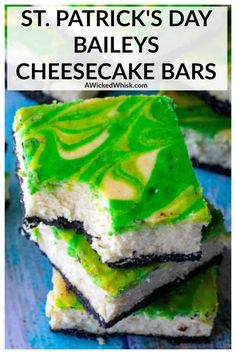 Patrick's Day Baileys Cheesecake Bars are the perfect green desserts to celebrate St.Patrick's Day all year long. Creamy cheesecake made with Baileys Irish Cream, these St. Patrick's Day Baileys Cheesecake Bars are the ultimate swirl cheesecake bars. Baileys Cheesecake, Best Cheesecake, Cheesecake Recipes, Dessert Recipes, Baking Recipes, Bar Recipes, Dessert Bars, Dessert Ideas, Easy Desserts