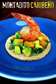 cassava bread, avocado and mango salsa, and a shrimp... want some? montadito caribeño by rosiletmejia, via Flickr